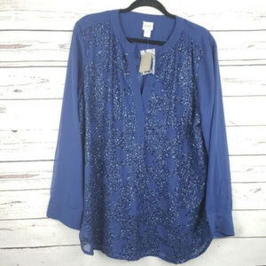 Chicos Sequins Size 3 Woman's Blouse Shirt NWT